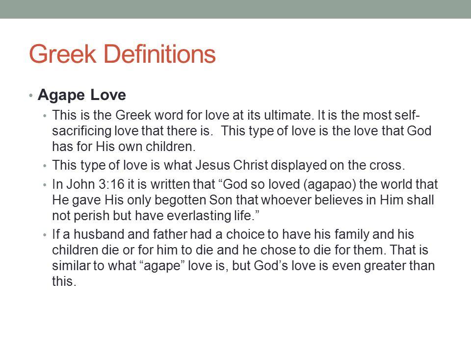 Greek Definitions Agape Love