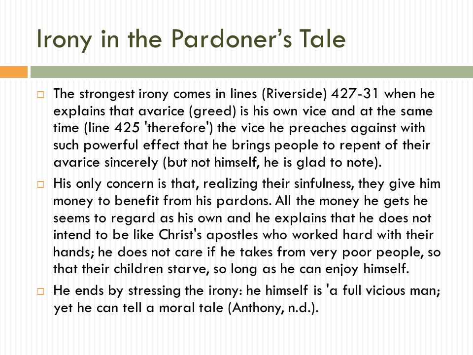 verbal irony in the pardoners tale