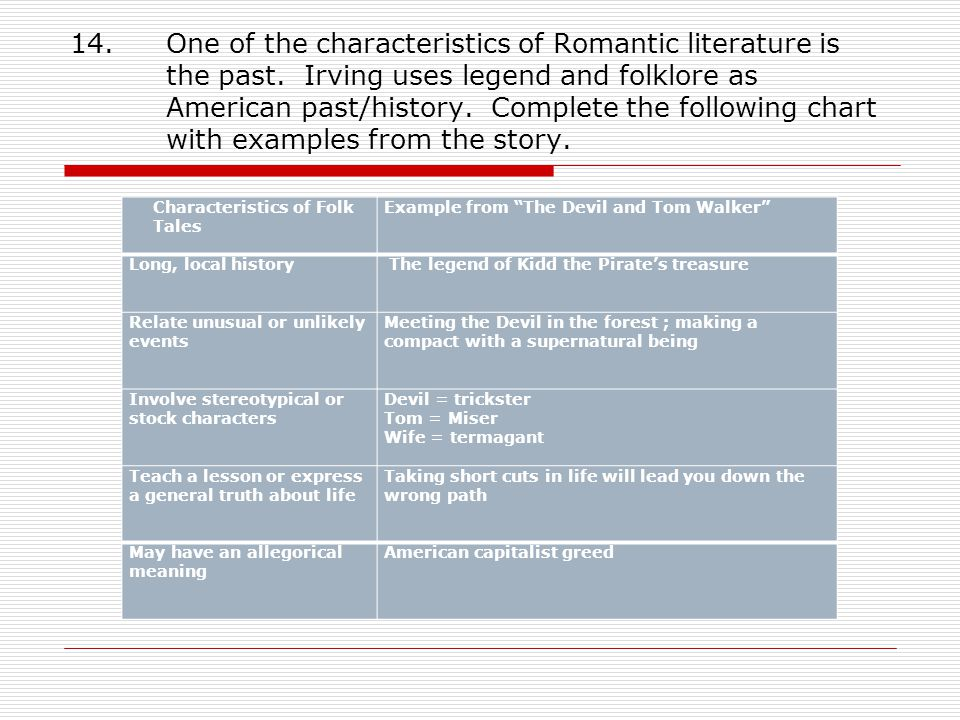 Essay Thesis Statement One Of The Characteristics Of Romantic Literature Is The Past Compare Contrast Essay Examples High School also Business Law Essay Questions The Devil And Tom Walker Washington Irving  Ppt Video Online Download Argument Essay Topics For High School