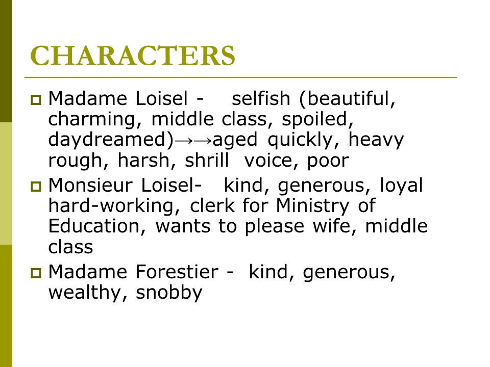 character analysis the necklace mathilde loisel