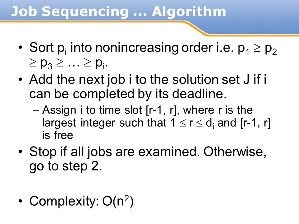 Job Sequencing ... Algorithm