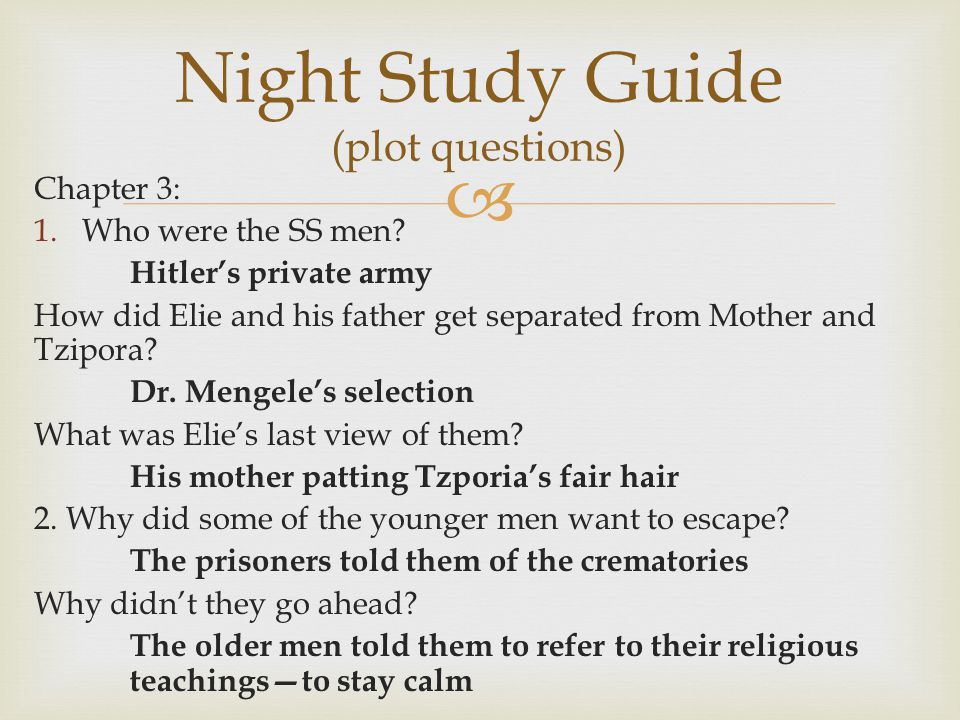 a literary analysis of night by wiesel Book summary (back to top) elizer (elie) wiesel's autobiography night begins in 1941 when he is twelve years old he is the only son in an extremely strict and traditional orthodox jewish family he has two older sisters, hilda and bea, and a younger sister tzipora.