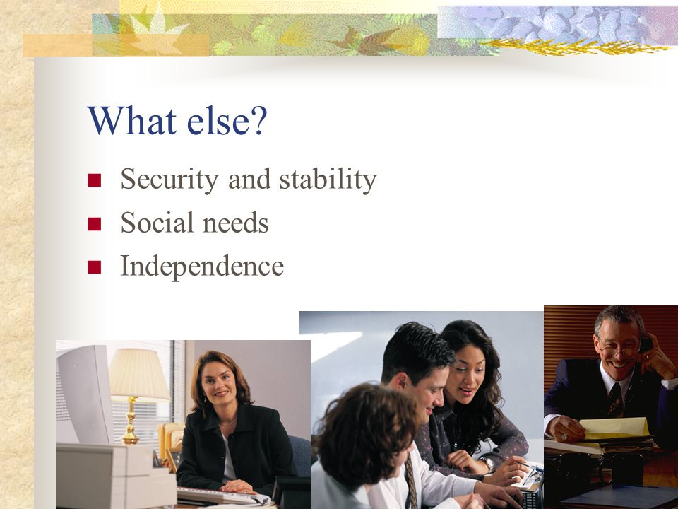 What else Security and stability Social needs Independence