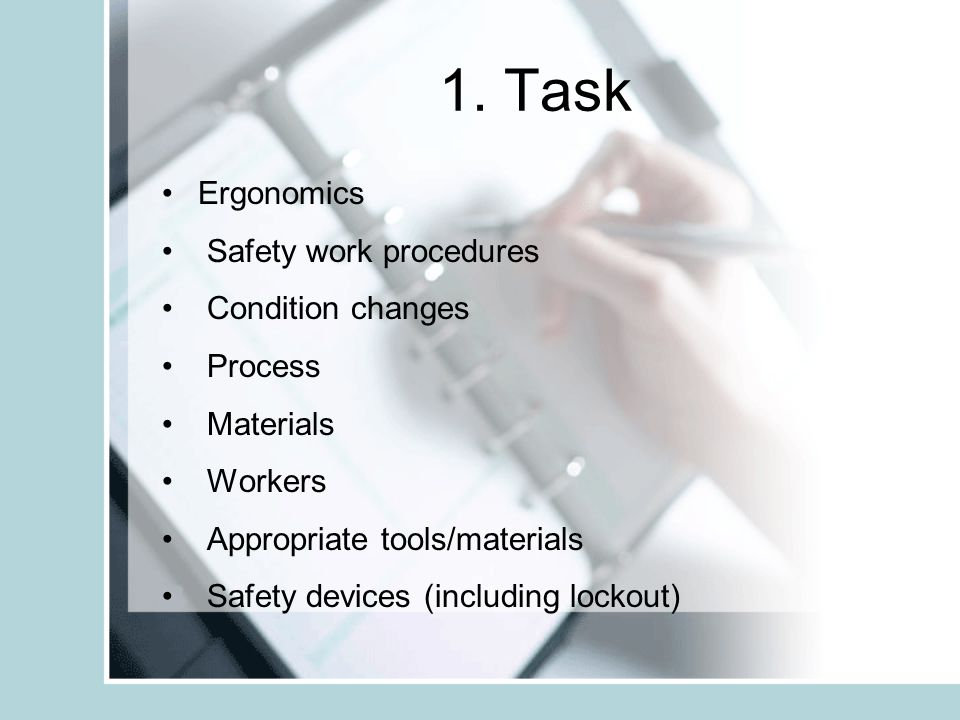 1. Task Ergonomics Safety work procedures Condition changes Process