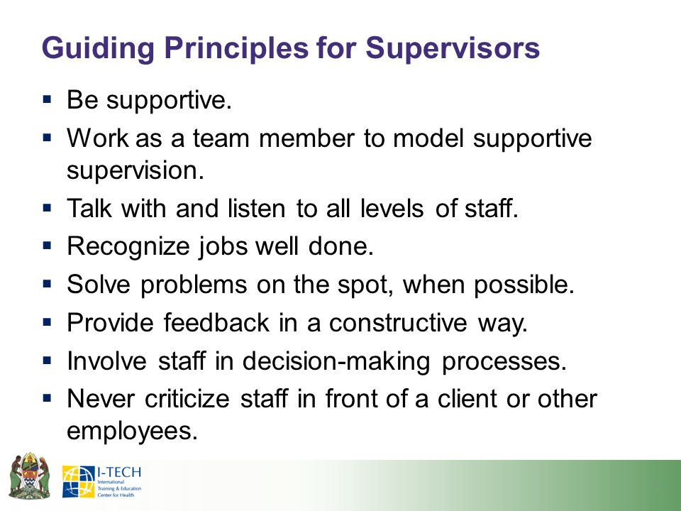 Guiding Principles for Supervisors