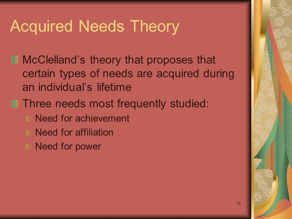 Acquired Needs Theory McClelland's theory that proposes that certain types of needs are acquired during an individual's lifetime.
