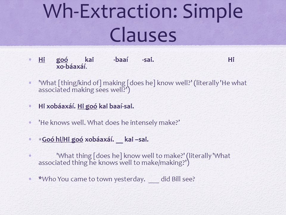 Wh-Extraction: Simple Clauses