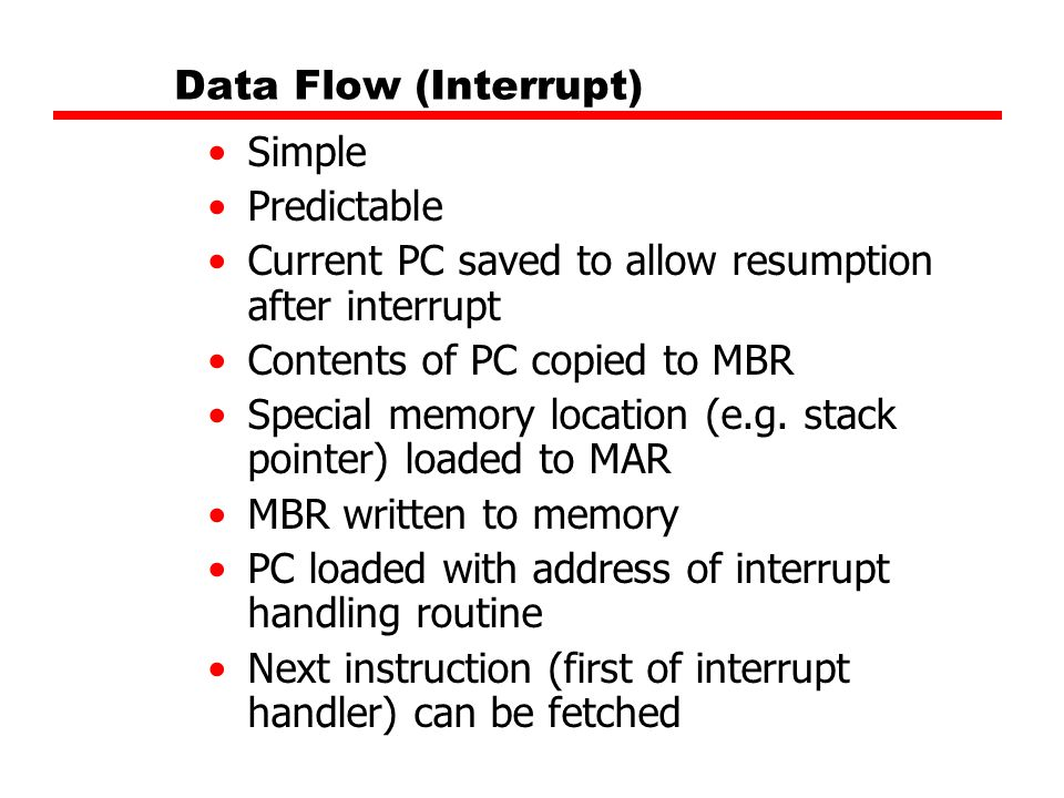 Data Flow (Interrupt) Simple. Predictable. Current PC saved to allow resumption after interrupt. Contents of PC copied to MBR.