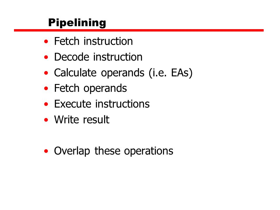 Calculate operands (i.e. EAs) Fetch operands Execute instructions