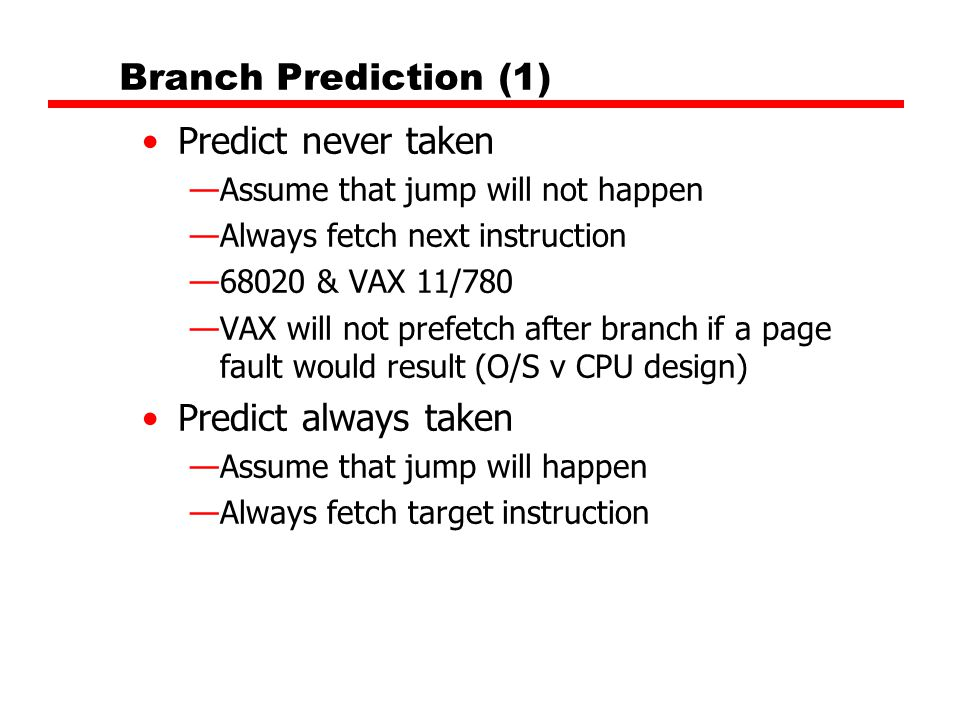 Branch Prediction (1) Predict never taken Predict always taken