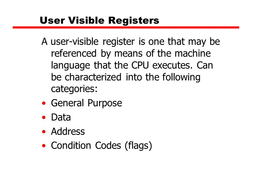User Visible Registers