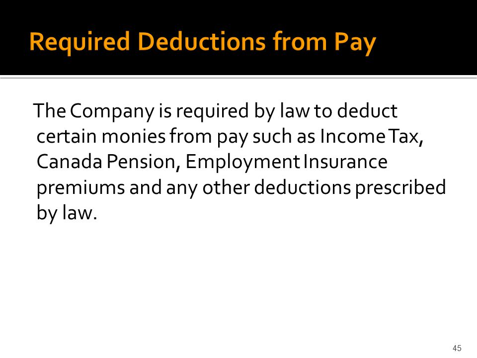 Required Deductions from Pay