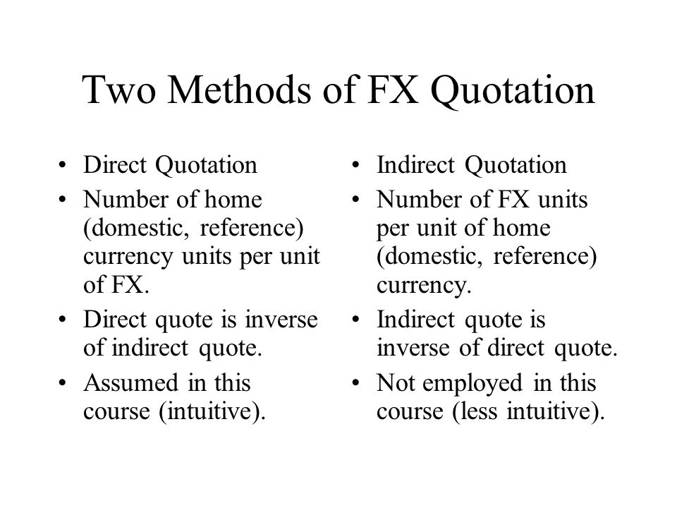 Two Methods Of Fx Quotation