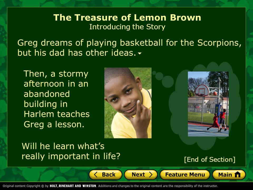 The Treasure Of Lemon Brown By Walter Dean Myers Ppt Download