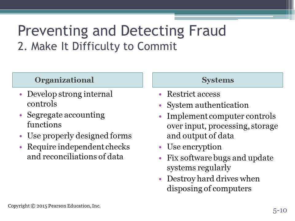 Preventing and Detecting Fraud 2. Make It Difficulty to Commit