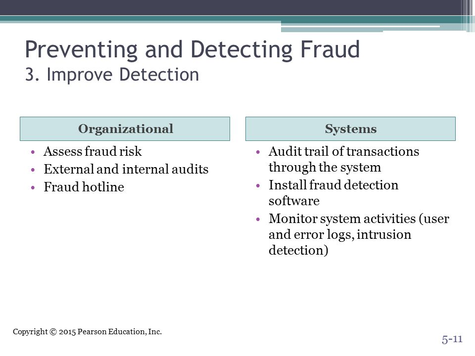 Preventing and Detecting Fraud 3. Improve Detection