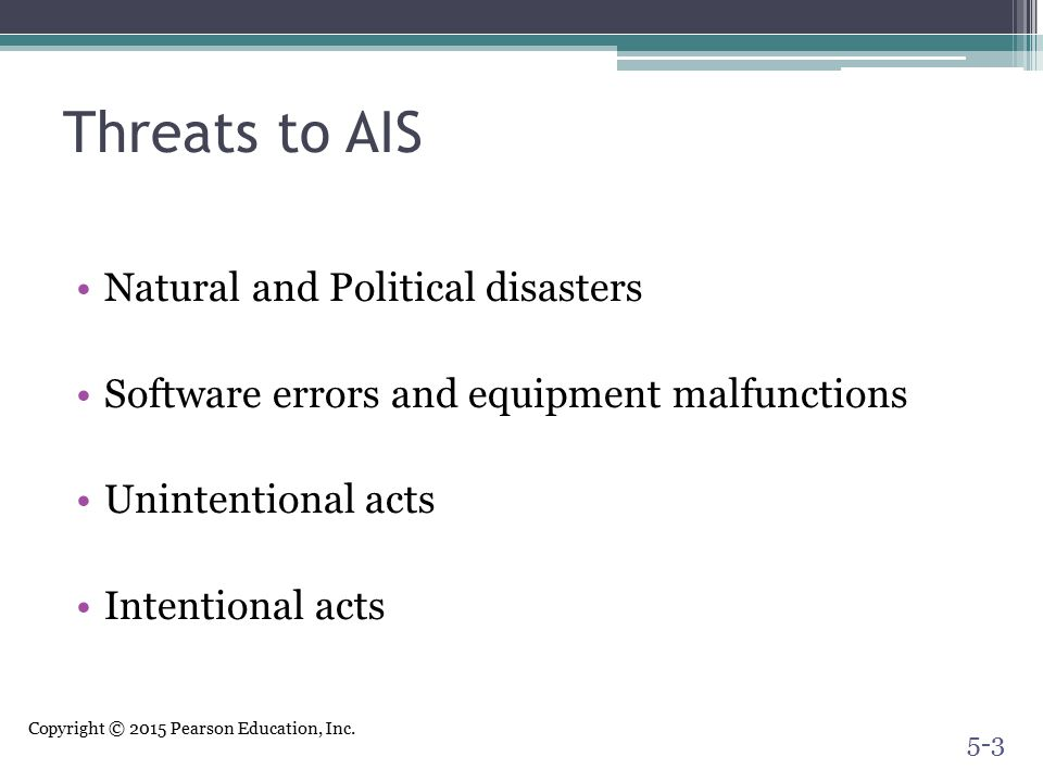 Threats to AIS Natural and Political disasters