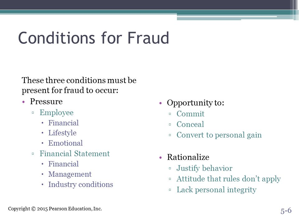 Conditions for Fraud These three conditions must be present for fraud to occur: Pressure. Employee.