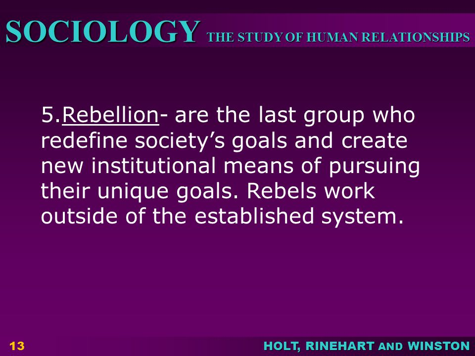 5.Rebellion- are the last group who redefine society's goals and create new institutional means of pursuing their unique goals.