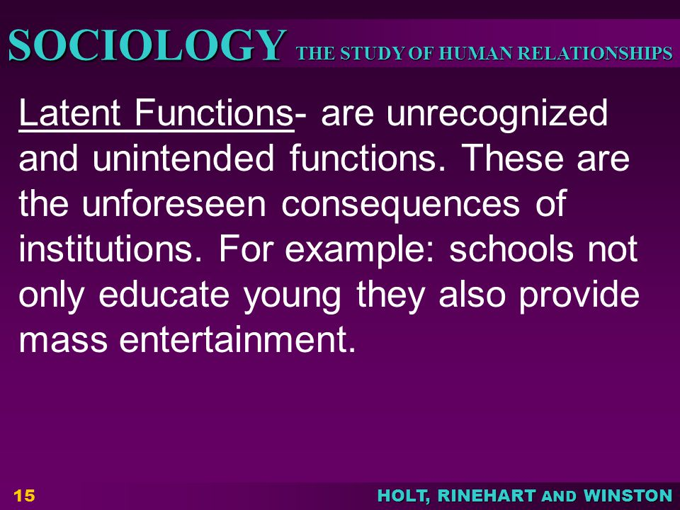 Latent Functions- are unrecognized and unintended functions