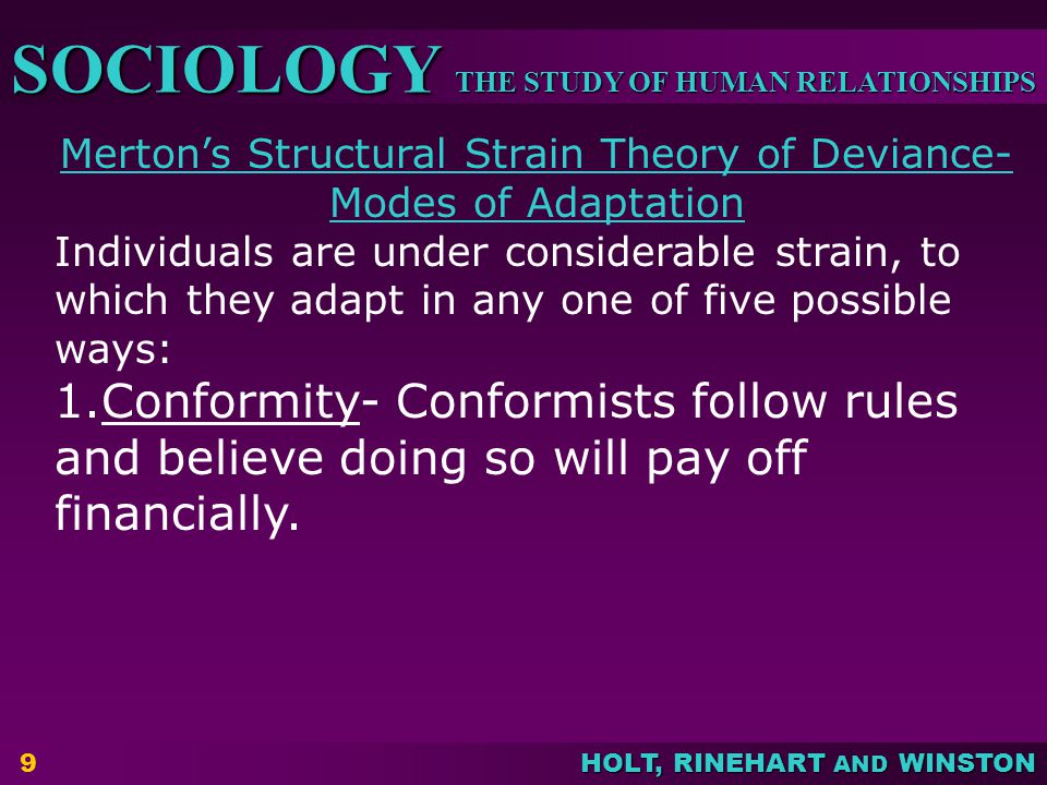 Merton's Structural Strain Theory of Deviance-Modes of Adaptation