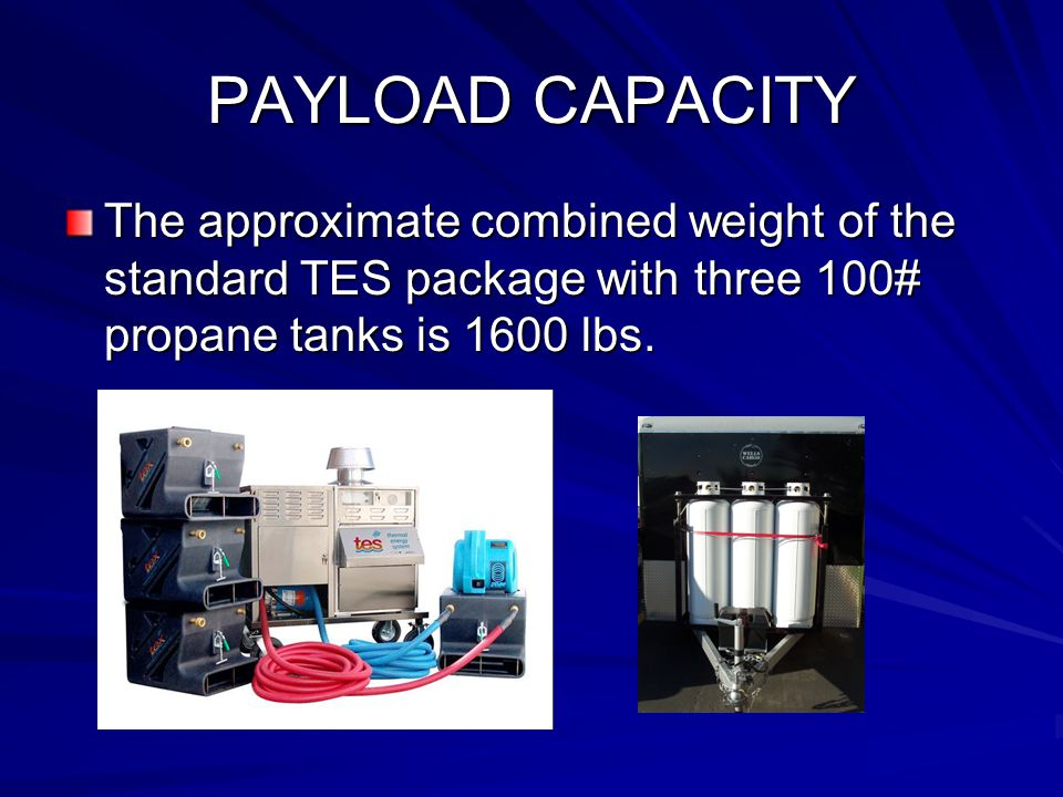 PAYLOAD CAPACITY The approximate combined weight of the standard TES package with three 100# propane tanks is 1600 lbs.