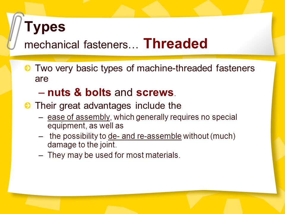 Basic Mechanical Fasteners part II - ppt download