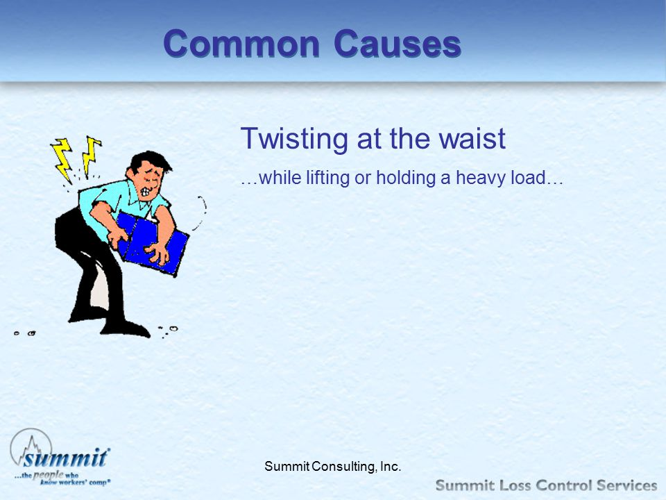 Common Causes Twisting at the waist