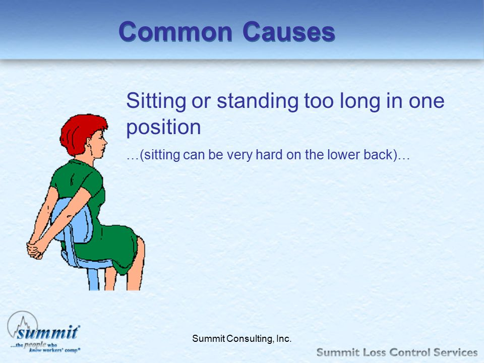 Common Causes Sitting or standing too long in one position