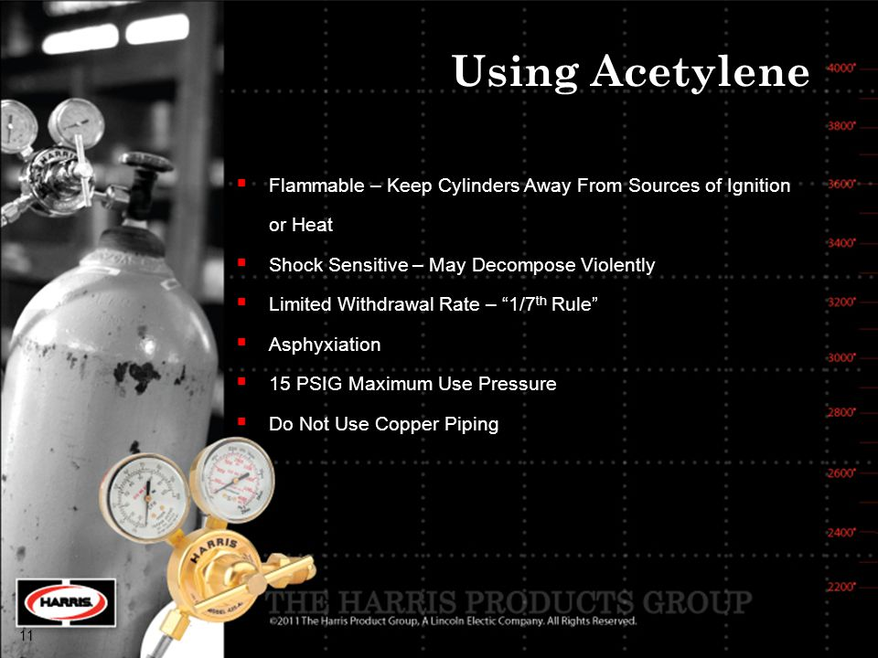 Using Acetylene Flammable – Keep Cylinders Away From Sources of Ignition. or Heat. Shock Sensitive – May Decompose Violently.