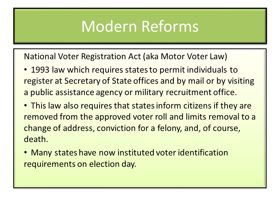 Modern Reforms National Voter Registration Act (aka Motor Voter Law)
