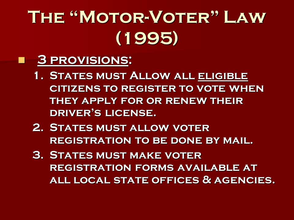 The Motor-Voter Law (1995)