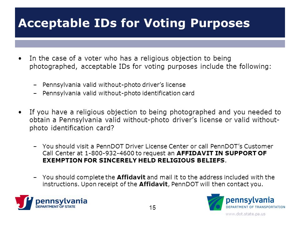 Acceptable IDs for Voting Purposes
