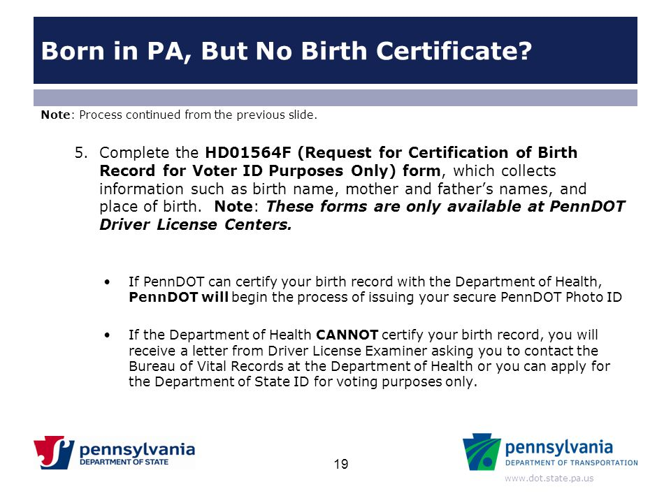 Born in PA, But No Birth Certificate