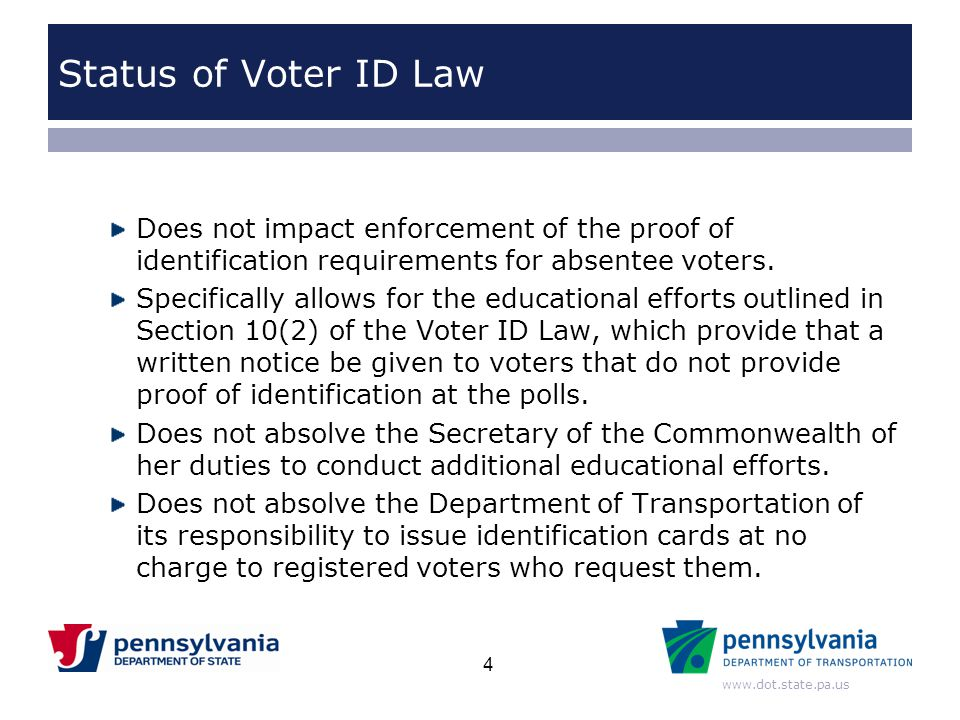 Status of Voter ID Law Does not impact enforcement of the proof of identification requirements for absentee voters.