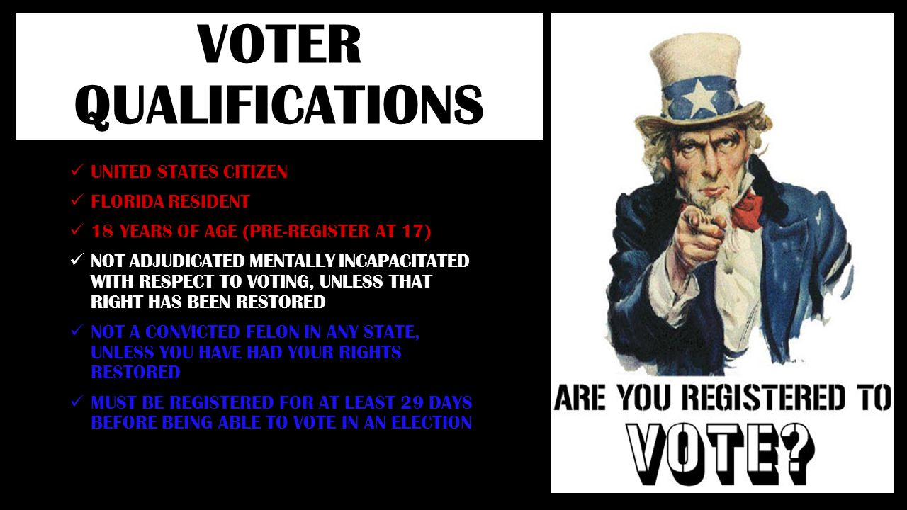 VOTER QUALIFICATIONS UNITED STATES CITIZEN FLORIDA RESIDENT