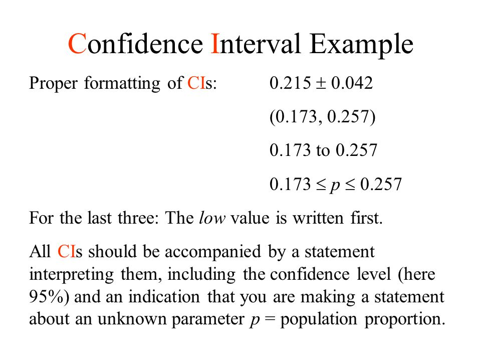 confidence interval (ci) for a proportion - ppt download
