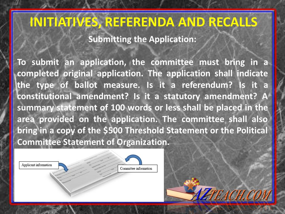 INITIATIVES, REFERENDA AND RECALLS Submitting the Application: