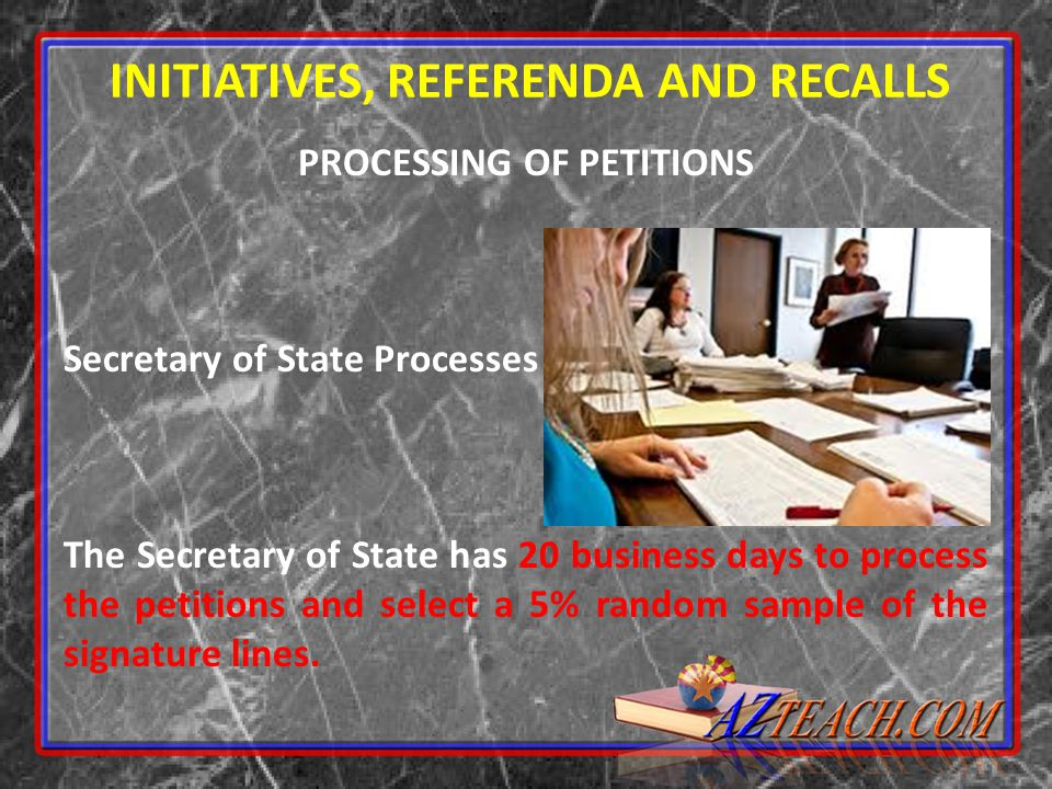 INITIATIVES, REFERENDA AND RECALLS PROCESSING OF PETITIONS