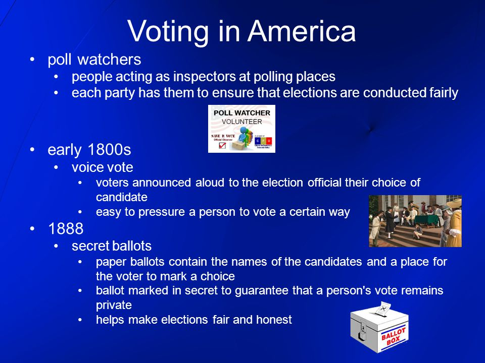 Voting in America poll watchers early 1800s 1888
