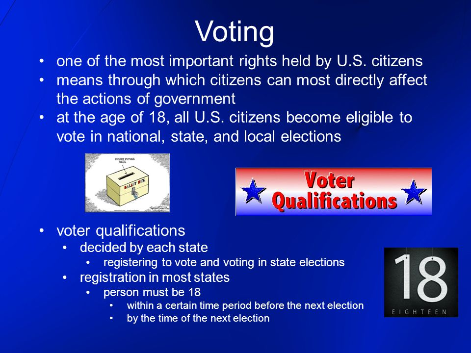 Voting one of the most important rights held by U.S. citizens