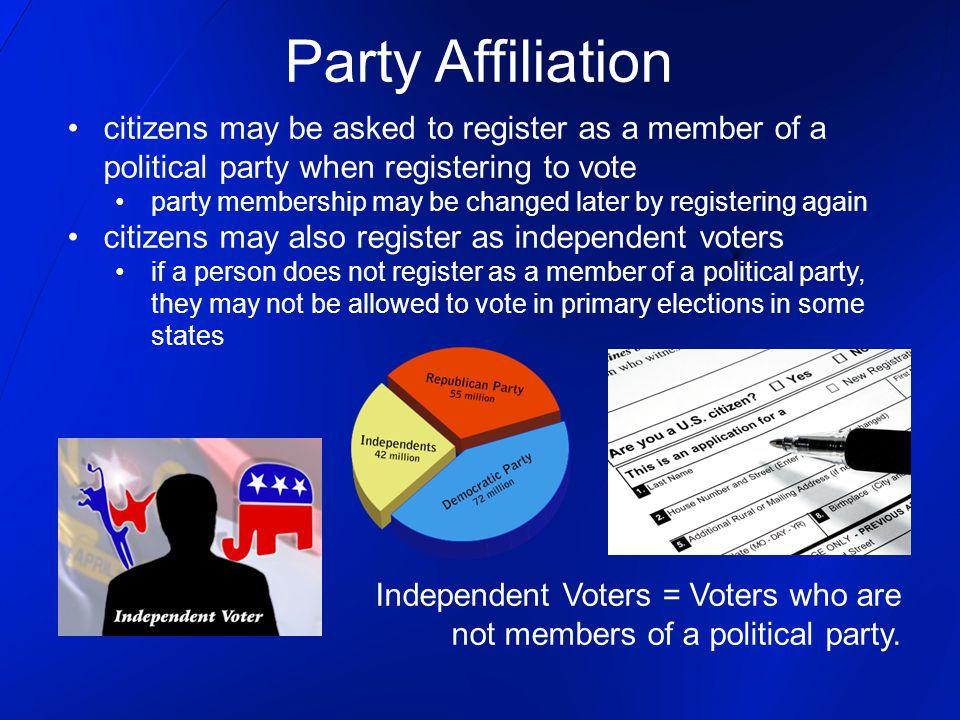 Party Affiliation citizens may be asked to register as a member of a political party when registering to vote.