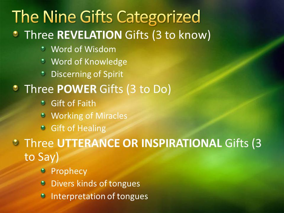 Base on the holy spirit and his gifts by kenneth e hagin ppt the nine gifts categorized negle Images