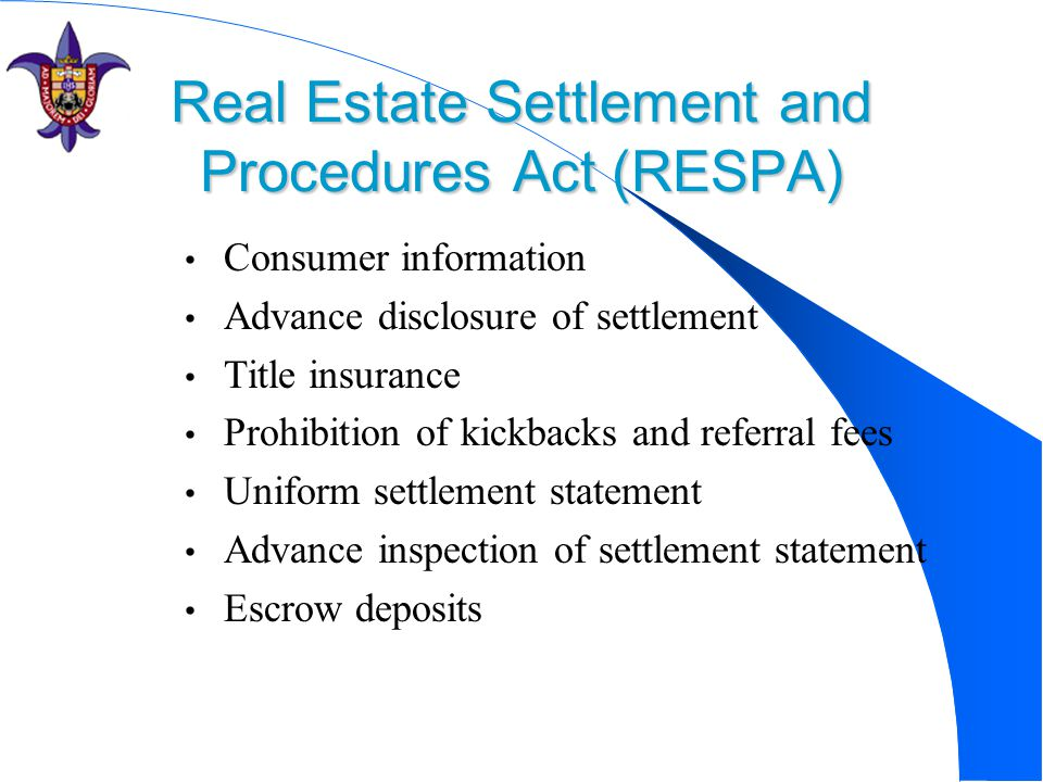 Real Estate Settlement and Procedures Act (RESPA)