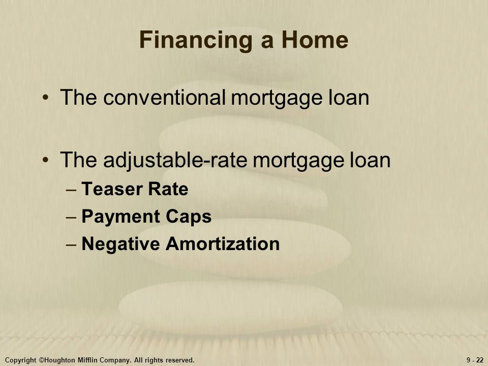 Financing a Home The conventional mortgage loan