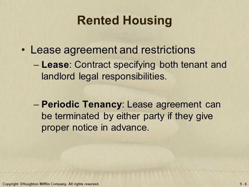 Rented Housing Lease agreement and restrictions