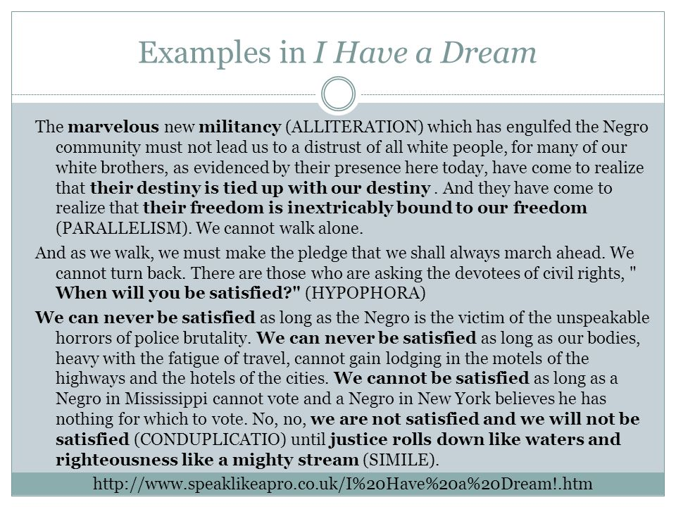Alliteration in i have a dream speech