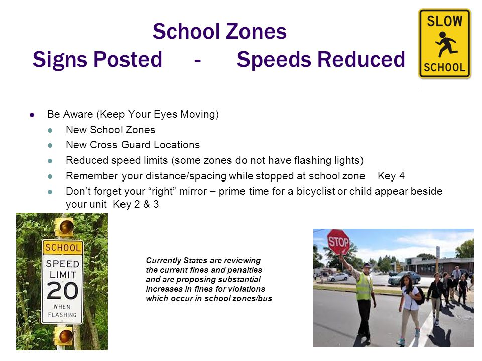School Zones Signs Posted - Speeds Reduced