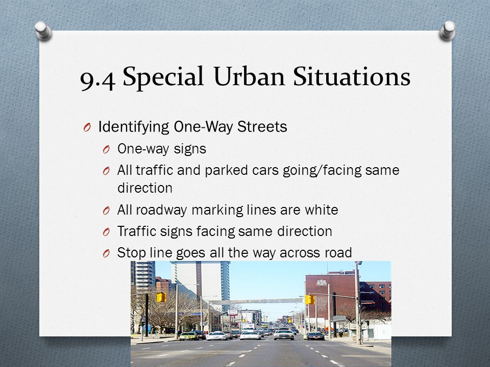 9.4 Special Urban Situations