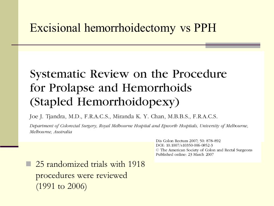 Excisional hemorrhoidectomy vs PPH